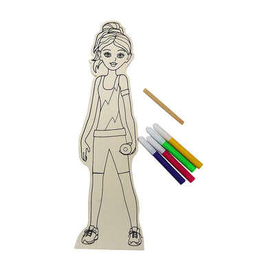 Colour Your Own Wooden Doll Kit - Female Athlete, 29.2cm, 1 pack