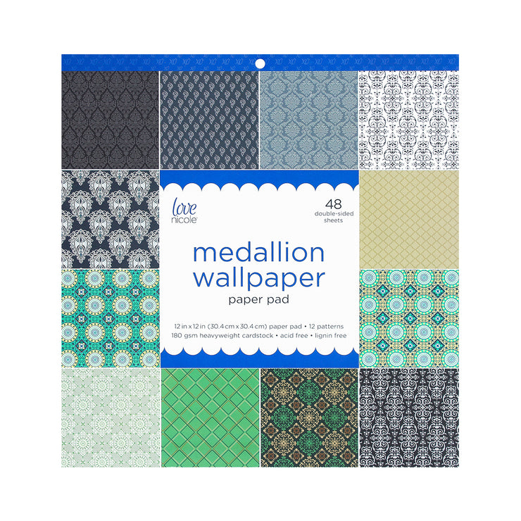 Medallion Wallpaper Printed Paper Stack, 12in x 12in, 48 double-sided sheets, 1 pack
