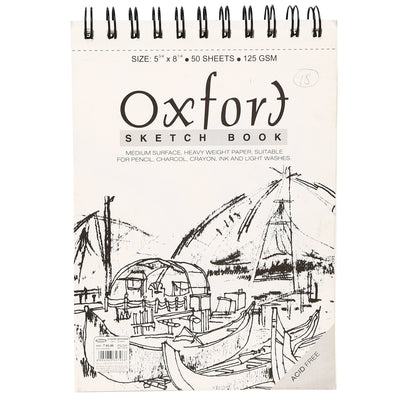 Oxford Sketch Book- A5, Wire-O-Binding, 125GSM, 50 sheets
