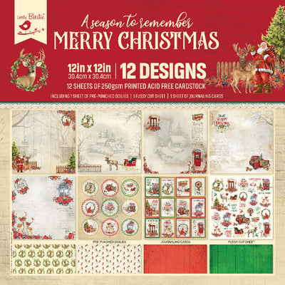 12 x12 inch Printed Cardstock pack- Merry Christmas, 12 Sheets, 12 Designs, 250 gsm