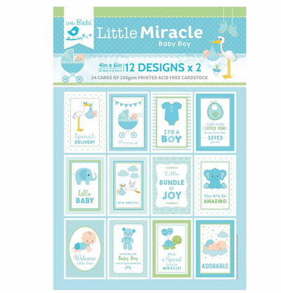 4 x 6 inch Printed Cardstock pack- Little Miracle Baby Boy, 24 Sheets, 12 Designs, 250 gsm