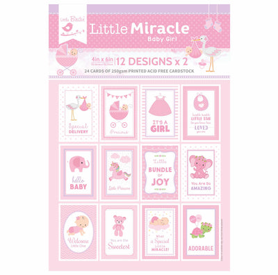 4 x 6 inch Printed Cardstock pack- Little Miracle Baby Girl, 24 Sheets, 12 Designs, 250 gsm