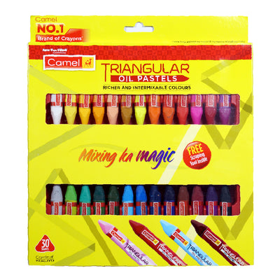 Camlin Triangular oil Pastels- 30 Shades