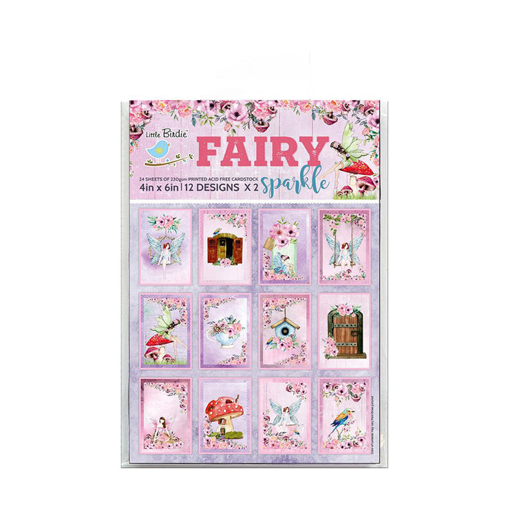 4 x 6 inch Printed Cardstock pack- Fairy Sparkle, 24 Sheets, 12 Designs, 250 gsm