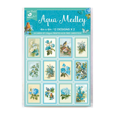 Journaling Card 4in x 6in Aqua Medley- 24 sheets, 12 design, 250gsm