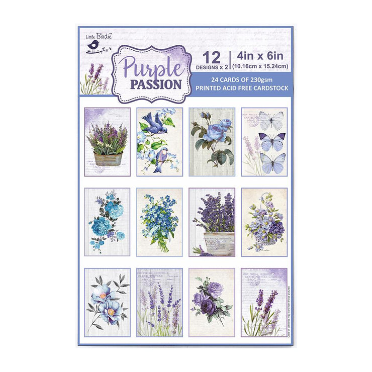4 x 6 inch Printed Cardstock pack- Purple Passion, 24 Sheets, 12 Designs, 250 gsm