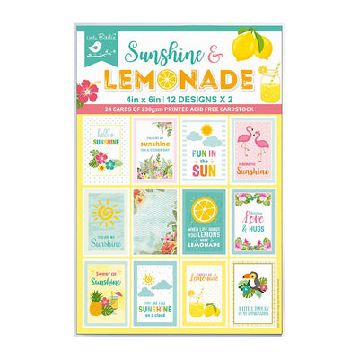 4 x 6 inch Printed Cardstock pack- Sunshine & Lemonade, 24 Sheets, 12 Designs, 250 gsm