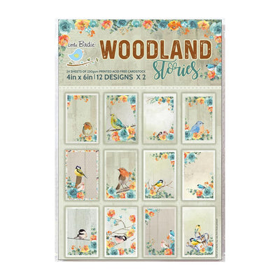 4 x 6 inch Printed Cardstock pack- Woodland Stories, 24 Sheets, 12 Designs, 250 gsm
