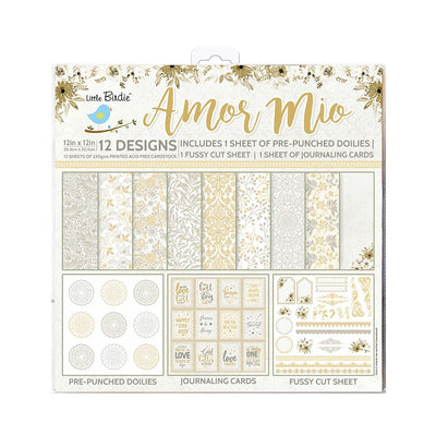 12 x12 inch Printed Cardstock pack- Amor Mio, 12 Sheets, 12 Designs, 250 gsm