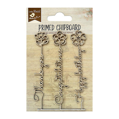 Primed Chipboard-  Thoughtful Wishes, 1Pc