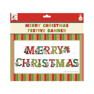 Merry Christmas Festive Banner 15pc & Ribbon 4m