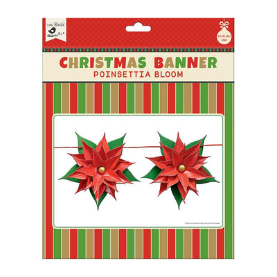 Pretty Poinsettia Christmas Banner - 12pc with 4m Ribbon