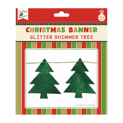 Christmas Shimmer Tree - Festive Banner 12pc & Ribbon 3m