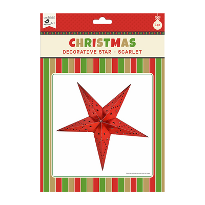 Christmas Decorative Star - Scarlet 1pc 48cm X 48cm (Approx) Ribbon 50cm