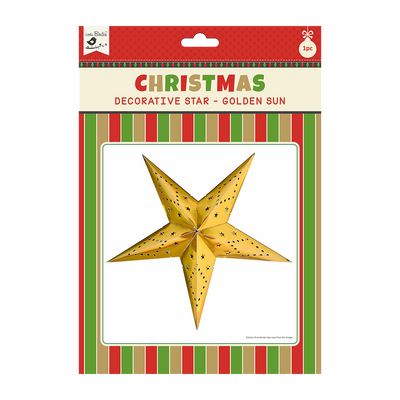 Christmas Decorative Star - Golden Sun 1pc 48cm X 48cm (Approx) Ribbon 50cm