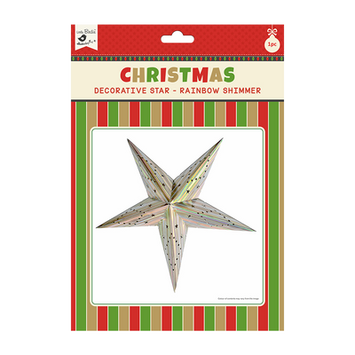 Christmas Decorative Star - Rainbow Shimmer 1pc 48cm X 48cm (Approx) Ribbon 50cm