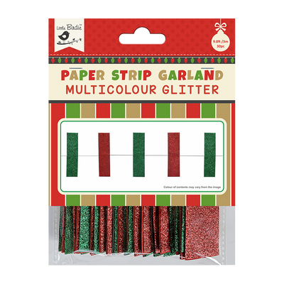 Christmas Glitter Paper Strips Garland Red & Green 3m