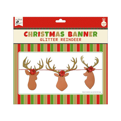Christmas Banner - Glitter Reindeer, 12pc & 4m Ribbon