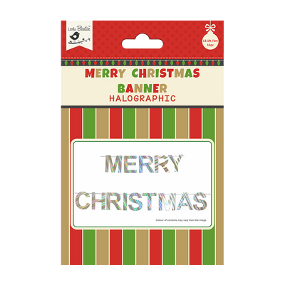 Merry Christmas Holographic Festive Banner 14pc & Ribbon 4m