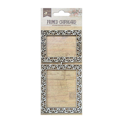 Primed Chipboard-  Scroll Border Frame, 1Pc
