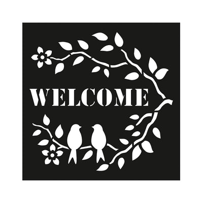 Stencil Welcome Tweet - 4x4 Inch, 1Pc