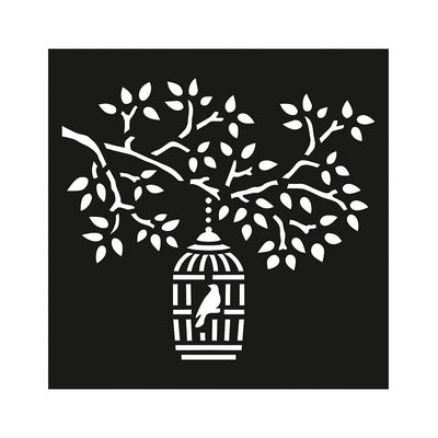 Stencil Tree Birdcage - 4x4 Inch, 1Pc