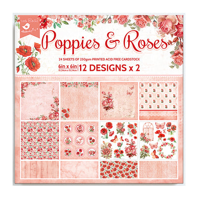 6 x 6 inch Printed Cardstock pack- Poppies & Roses, 24 Sheets, 12 Designs, 250 gsm