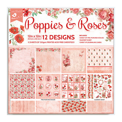 "Printed Cardstock Pack 12"" x 12"", 12 Sheets, 250gsm - Poppies & Roses"