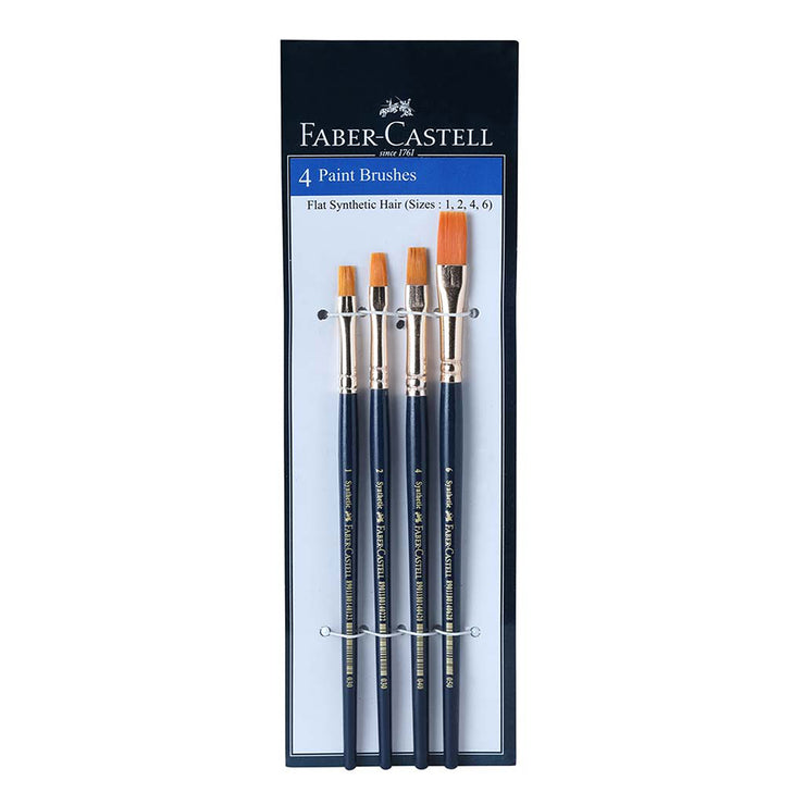 Faber Castell- Synthetic Hair Flat Paint Brush Assorted Set Of 4