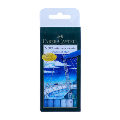 Faber Castell Pitt Artist B Pen Blue Set Of 6