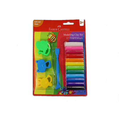 Faber Castell 12 Mod Clay 150 G With Toys Blister