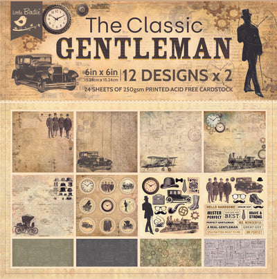 6 x 6 inch Printed Cardstock pack- The Classic Gentleman, 24 Sheets, 12 Designs, 250 gsm