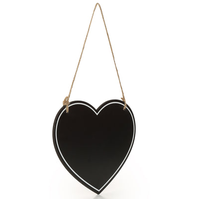 Wooden Hanging Chalkboard - Heart, 20X15X0.4cm, 1 pc