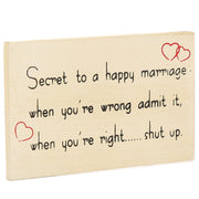 Fridge Magnet - Secret of Happy Marriage, 9X5X0.5cm, 1pc