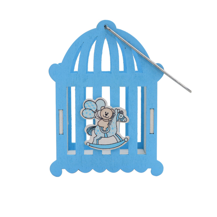 Wooden Decorative Cradle - Blue, 1pc