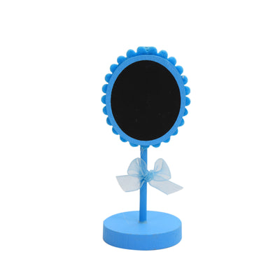 Mini Wooden Floral Shape Chalkboard Stand - Blue, 1pc