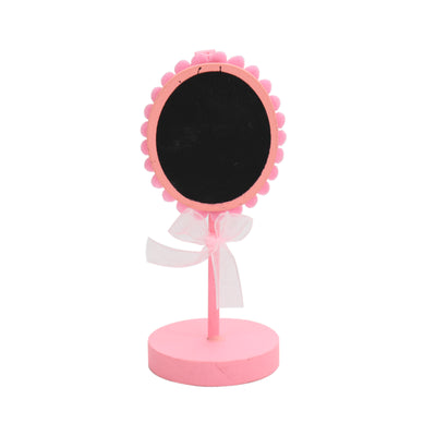 Mini Wooden Floral Shape Chalkboard Stand - Pink, 1pc