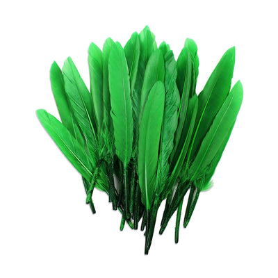 Red Indian Feathers - Green 30pcs, 13cm