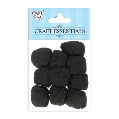 Jumbo Pompom - Black 30mm, 10pcs
