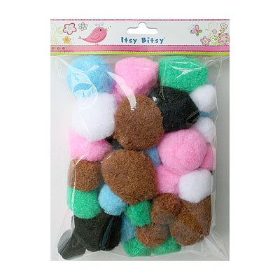 Jumbo Pompom - Assorted Size and Colour 30 pcs