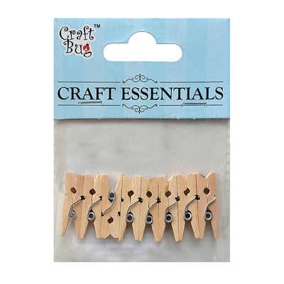 Wooden Clips Natural 2.5cm, 8pcs