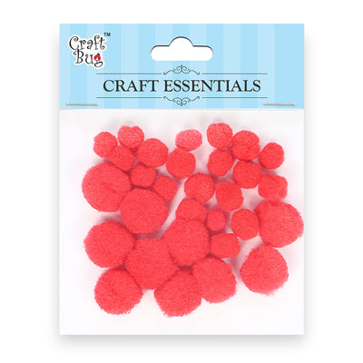 Pompom - Assorted Size, Red 30pcs