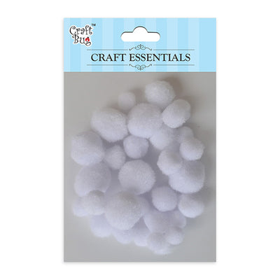 Pompom - Assorted Size, White 30pcs