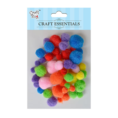 Pompom - Assorted Size, Bright 50pcs