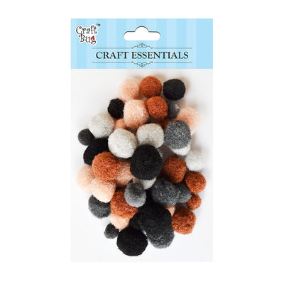Pompom - Assorted Size, Natural 50pcs