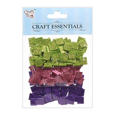Glitter Foam Squares Self Adhesive Green/Pink/Purple -150pcs