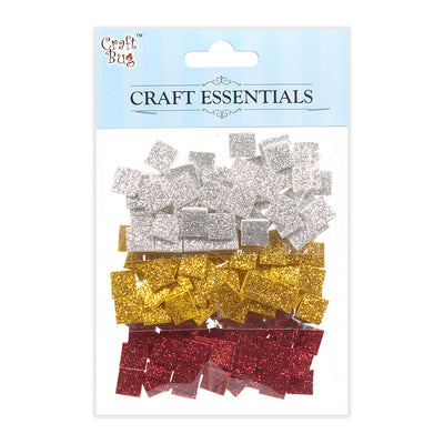 Glitter Foam Squares Self Adhesive White/Yellow/Red -150pcs