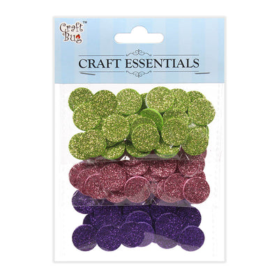 Glitter Foam Dots Self Adhesive Pink/Green/Purple -90pcs