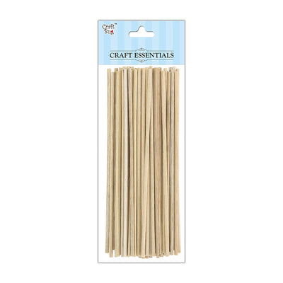 Round Bamboo Sticks - Natural, 3mm, 6inch, 50gm