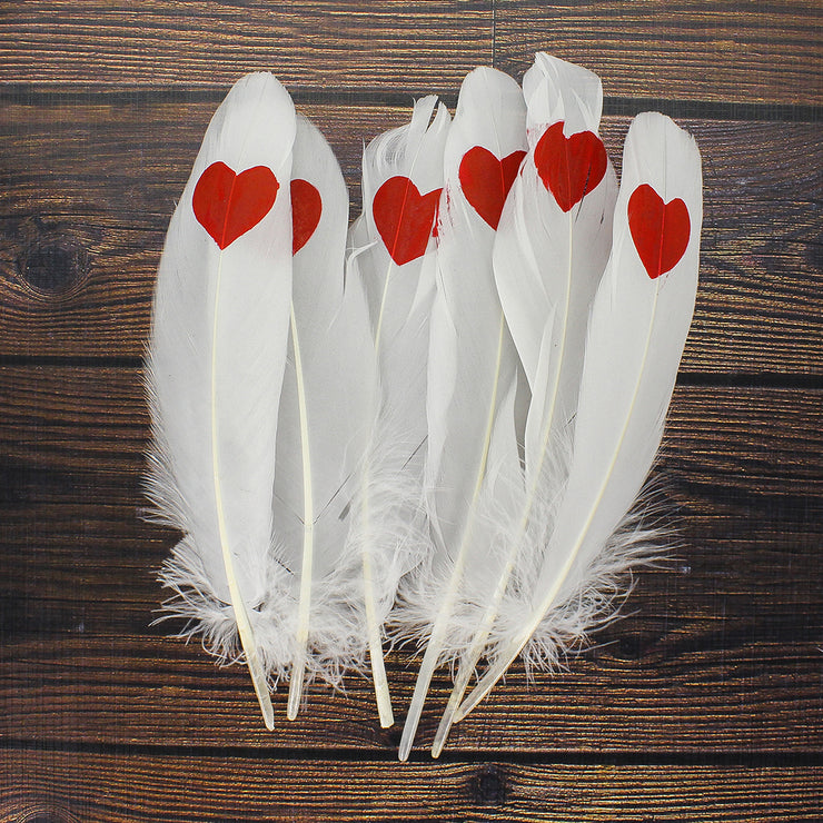 Printed Feathers - Heart, 6pc
